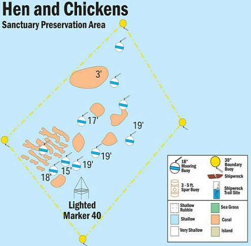 Hen and Chickens Reef Map