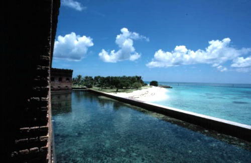 Looking over Moat to Dry Tortugas Garden Key Beach