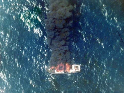 Aerial of Boat on Fire