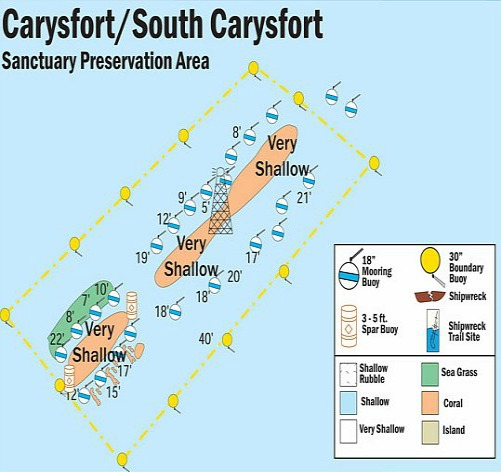 Carysfort North, South and Carysfort Lighthouse Map