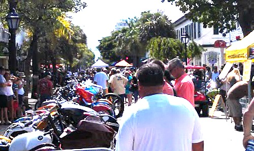 Crowded Kiosk Lined Duval Street During Key West Poker Run