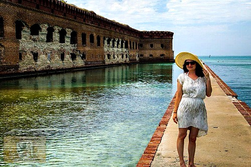 Jen Lack on Wedding Day at Dry Tortugas National Park