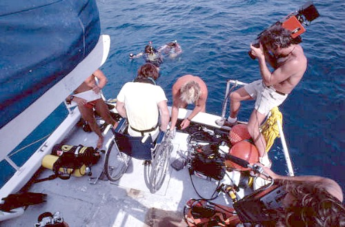 Disabled Key West Diver Being Assisted Into The Water