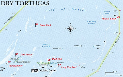 Dry Tortugas Diving Map