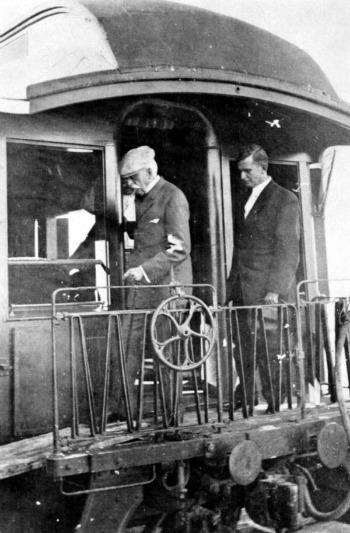 Henry Flagler Disembarking Train After Arrival in Key West