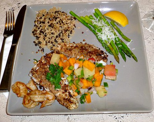 Mahi Mahi with Coconut and Persimmon Salsa
