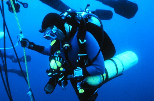 Technical Diver During a Decompression Stop