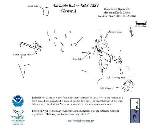Map for Adelaide Baker Primary Debris Field
