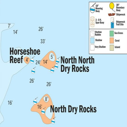 Horseshoe, Double North and North Dry Rocks Map