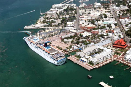Aerial of Cruise Ship Docked in Key West at Mallory Square