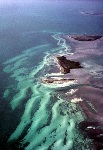 Aerial of Marquesas, Ballast, Woman and Boca Grande Keys