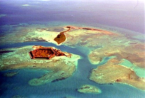 Aerial of Dry Tortugas Shallow Waters