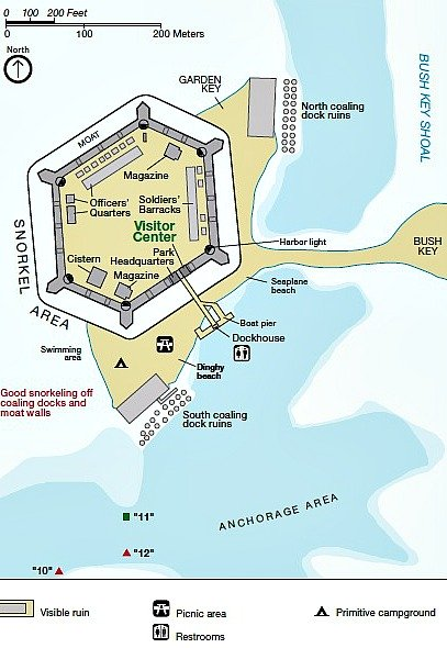 Snorkeling Map For Dry Tortugas Garden Key