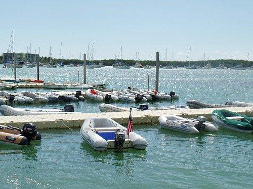 Liveaboard boat dinghies moored at Boot Key Harbor