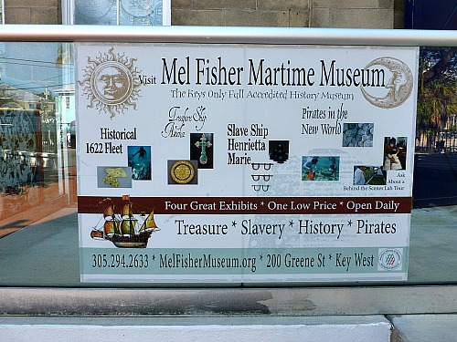 Outside treasure placard display at Mel Fisher Maritime Museum in Key West