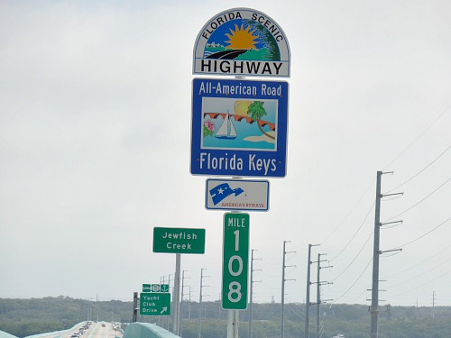 Florida Scenie Highway All American Road Sign on the Jewfish Creek Bridge