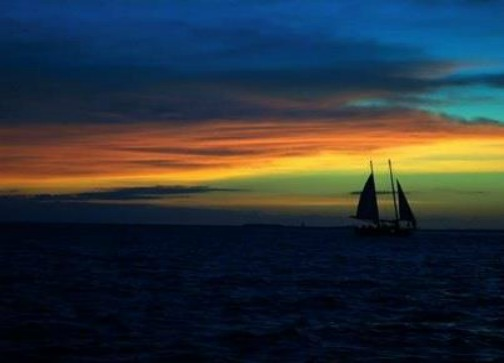 Sailboat Sailing into a Key West Sunset Rainbow