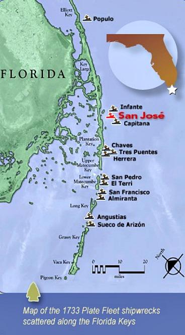 1733 Spanish Treasure Fleet Map