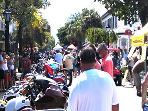 Bustling Duval Street During Key West Poker Run