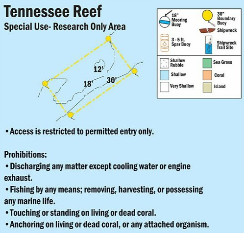 Tennessee Reef Restricted Only Area Map