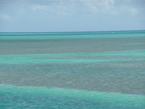 Florida Keys water colors are combinations of green, blue, brown, and turquoise