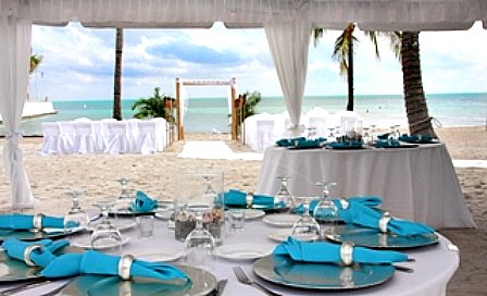 Fully Decorated Beach Wedding Reception