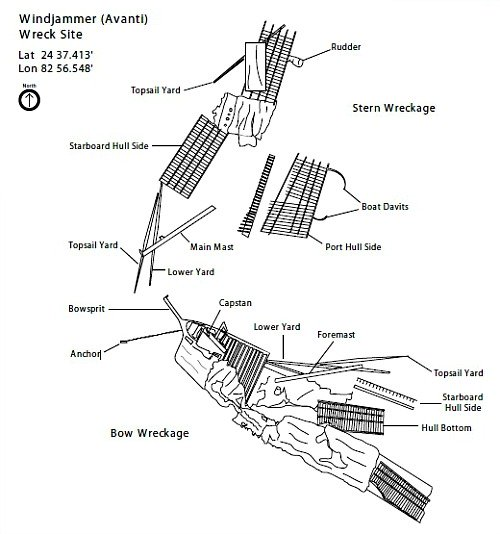Windjammer Debris Site Layout