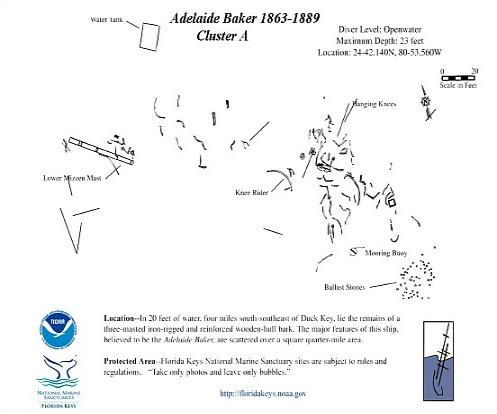 Map for Adelaide Baker Primary Debris Field